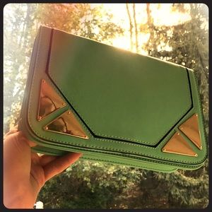 Handbags - Mint green clutch vegan leather designer new bag